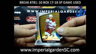 CASE BREAK #781 MAIN: 10 BOX CASE BREAK 17-18 SP GAME USED  HOCKEY NHL