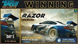 NFS No Limits | Return Of Razor - BMW M4 (RAZOR) | Day 5 - WINNING