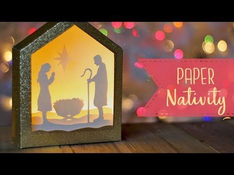How To Make A Paper Nativity Shadowbox + Free SVG file! 🎄  Craftmas