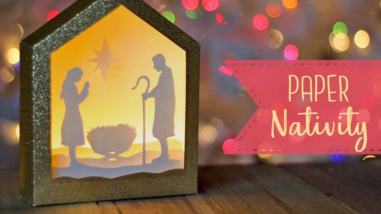 How To Make A Paper Nativity Shadowbox Free Svg File Craftmas Youtube