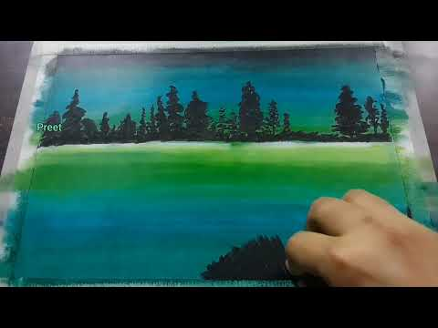 painting night landscape with oil pastels step by step | oil pastel painting tutorial