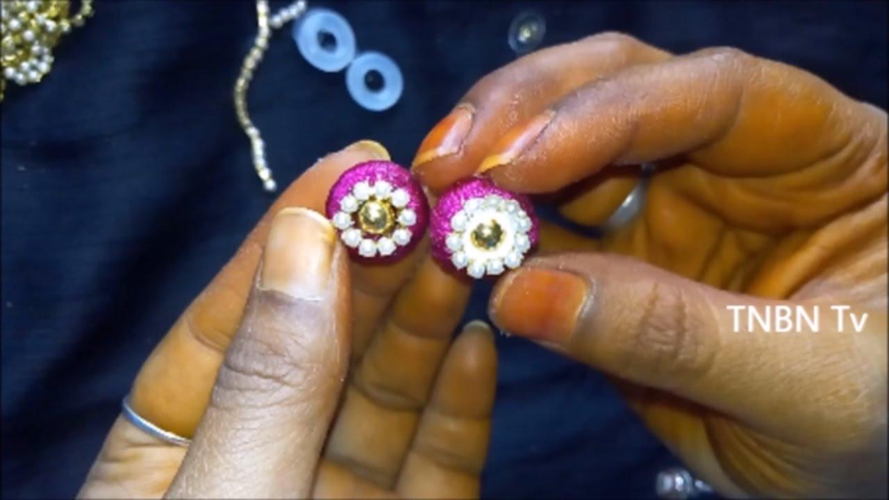314fb2fb5 how to make silk thread stud earrings | silk thread jhumkas tutorial, silk  thread earrings making - YouTube