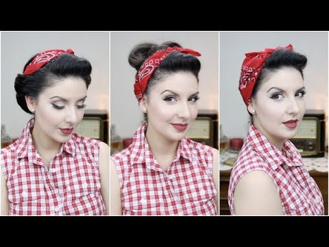 Easy PinUp Hairstyles With Bandana For Long To Medium Hair Length | Nena Moreno