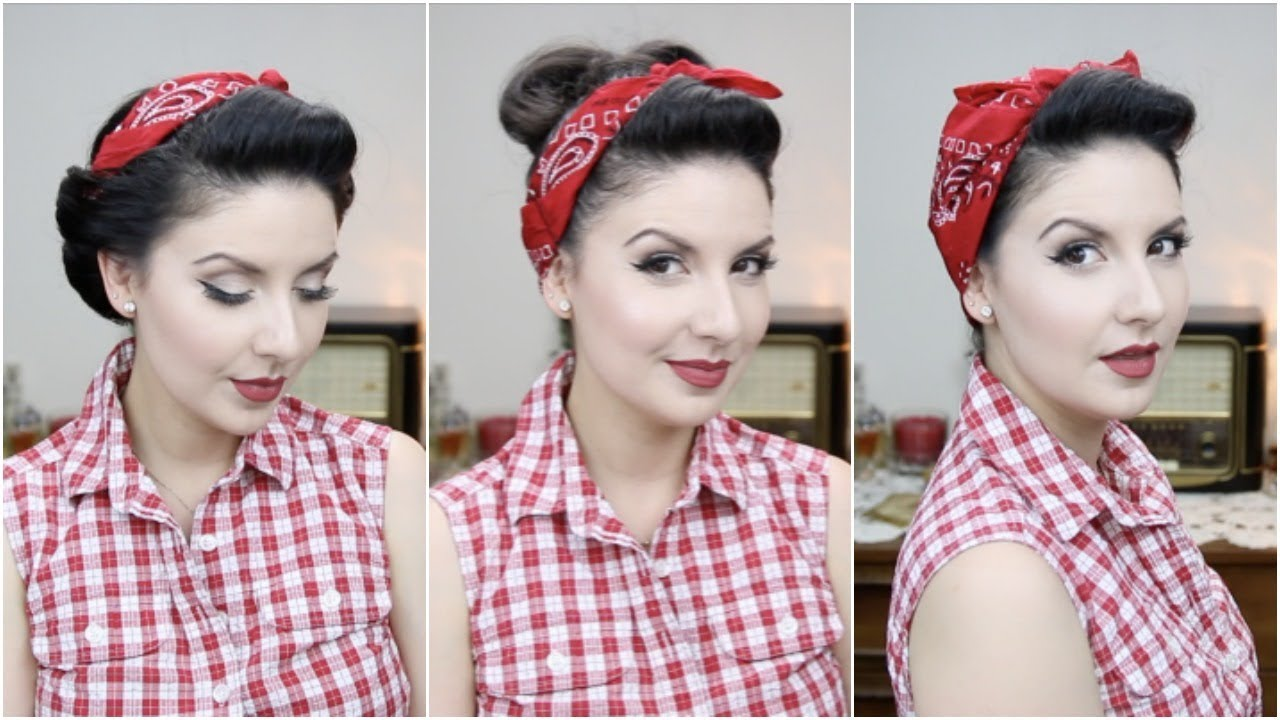 Easy Pinup Hairstyles With Bandana For Long To Medium Hair Length Nena Moreno