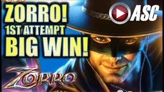 ★FIRST ATTEMPT! BIG WIN!!★ ZORRO - MIGHTY CASH (Aristocrat) Slot Machine Bonus