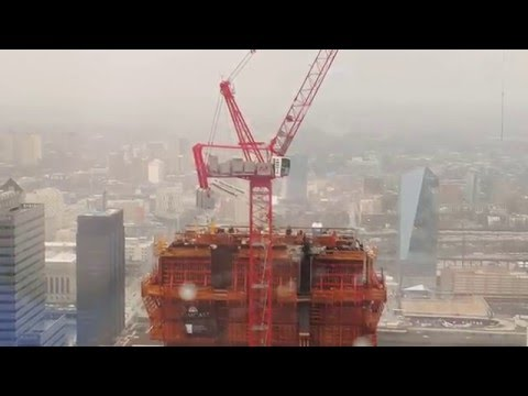 65mph wind gusts at the top of the new Comcast Tower