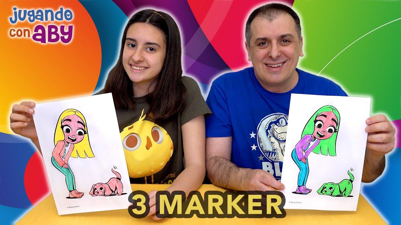 3 Marker Challenge Me Coloreo A Mi Misma Y A Mi Perro De Mi Nuevo Libro Con Rotuladores Fosforitos Youtube