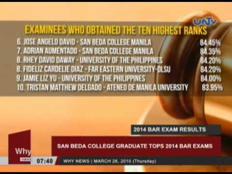 San Beda College graduate tops 2014 Bar Exams