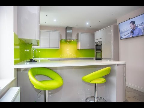Merveilleux Lime Green Swirls Kitchen Glass Splashbacks