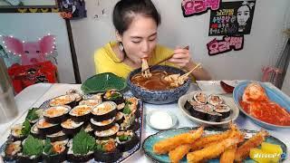 먹방 요리쌤 집김밥엔 우동인가 라면인가 가을소풍 나들이…