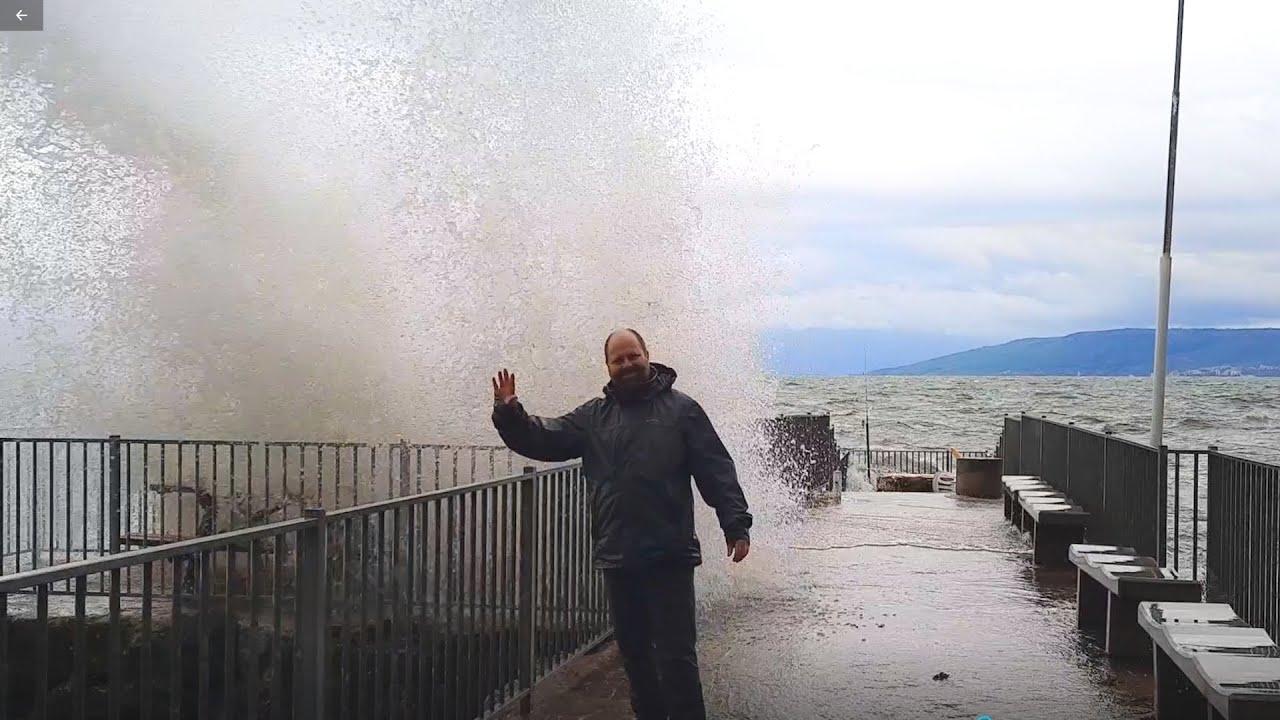 Storm at the Sea of Galilee, Capernaum, Israel, big waves