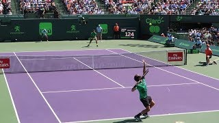 Roger Federer v. Juan Martin Del Potro (Court Level View) 60FPS HD Miami Open 2017 R3