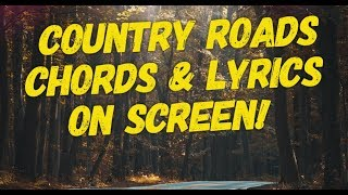 Country Roads play along | Chords and Lyrics on screen | Clawhammer Banjo