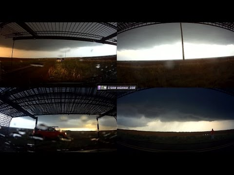 Storm chasing timelapse, 4-way view - Memphis/Turkey, TX - May 23, 2016