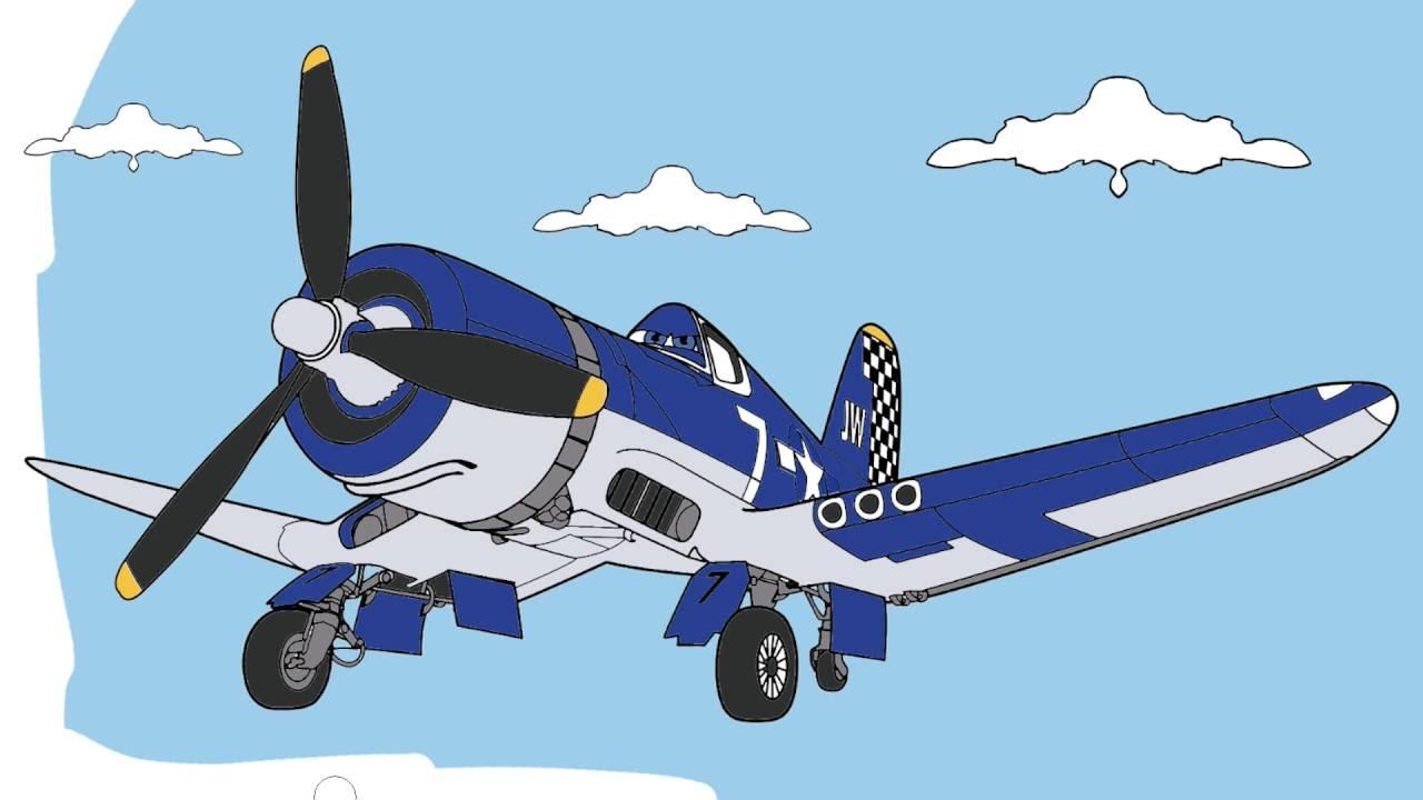 Pintando Aviones   Parte 2   Disney   Colorear a Skipper Riley ...