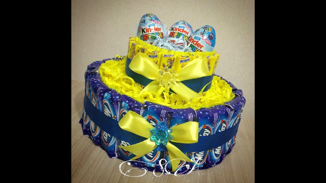 Торты из конфет своими руками пошаговое фото из картона