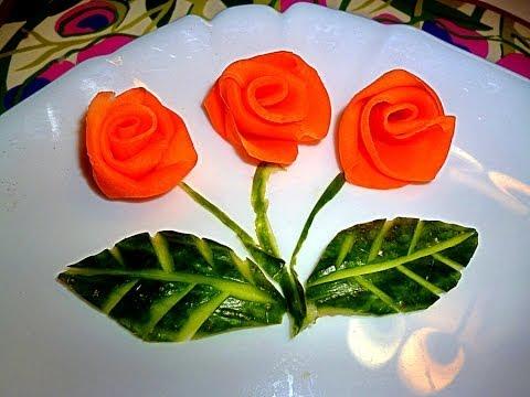 Розы из моркови и свеклы. Украшения из овощей. Как красиво нарезать овощи. Decoration of vegetables
