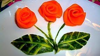 КАК СДЕЛАТЬ РОЗУ  ИЗ МОРКОВИ И СВЕКЛЫ  КАК КРАСИВО ОФОРМИТЬ СТОЛ УКРАШЕНИЯ САЛАТОВ(За несколько минут простым ножом делаем очень красивые розы из моркови и свеклы. Легкий способ красиво..., 2013-11-29T10:32:24.000Z)