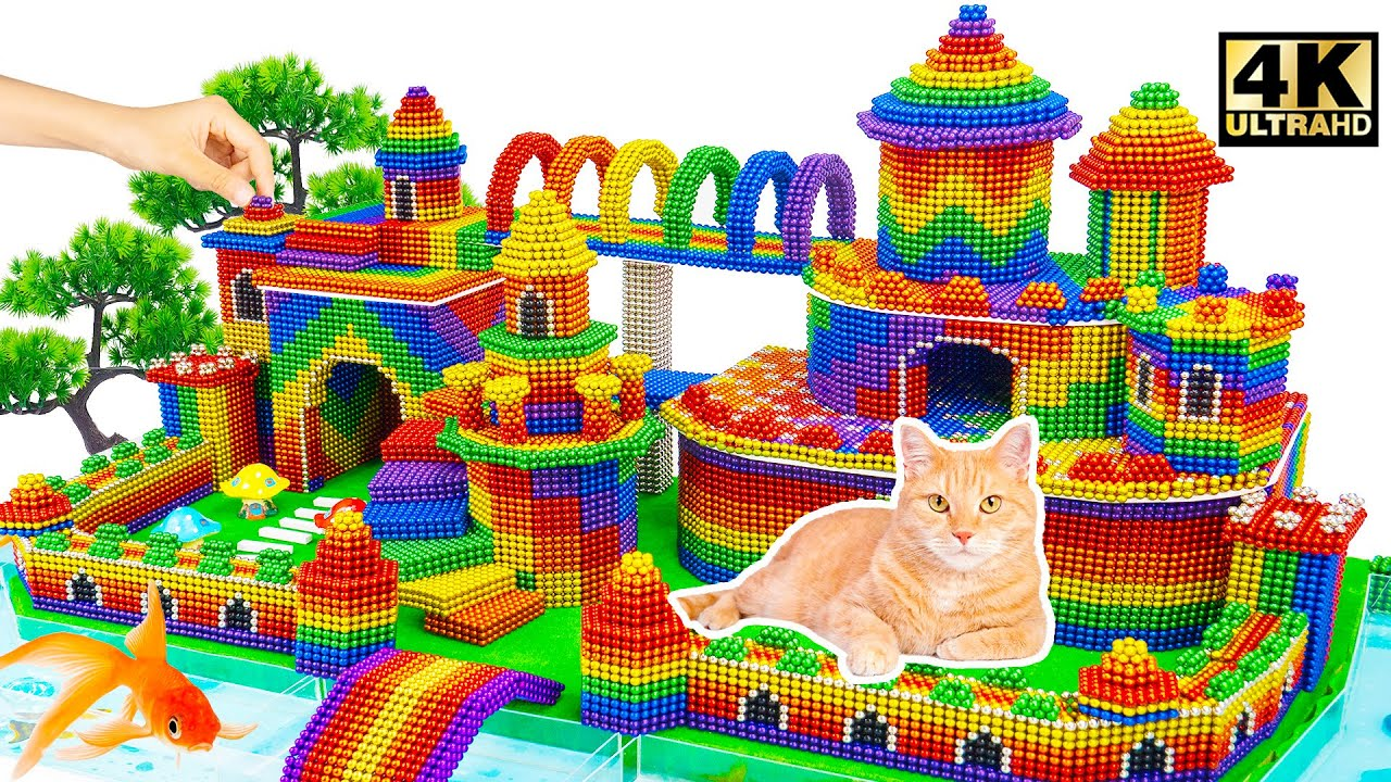 Download DIY - Build Mega Luxury Castle And Moat Around For Cat From Magnetic Balls | Magnet World Satisfying