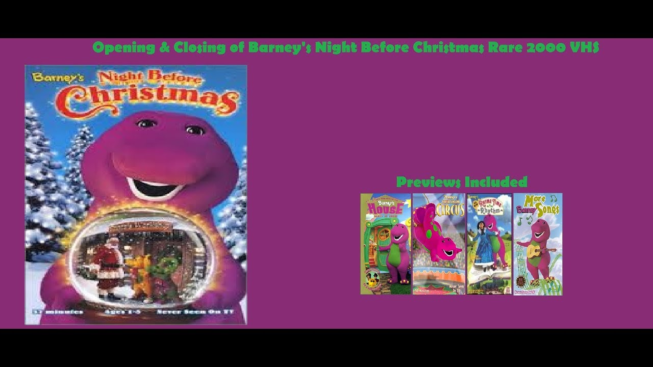 Barney\'s Night Before Christmas Rare 2000 VHS Opening & Closing ...