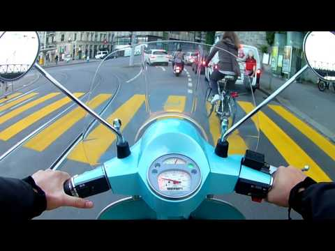 Vespa PX125 ride through Zurich