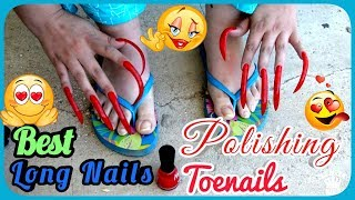 Polishing  long toenails & CLOSE UP asmr  LONG SHARP AND WONDERFUL NAILS! Best triggers 💅