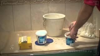 как класть плитку в ванной на стену видео
