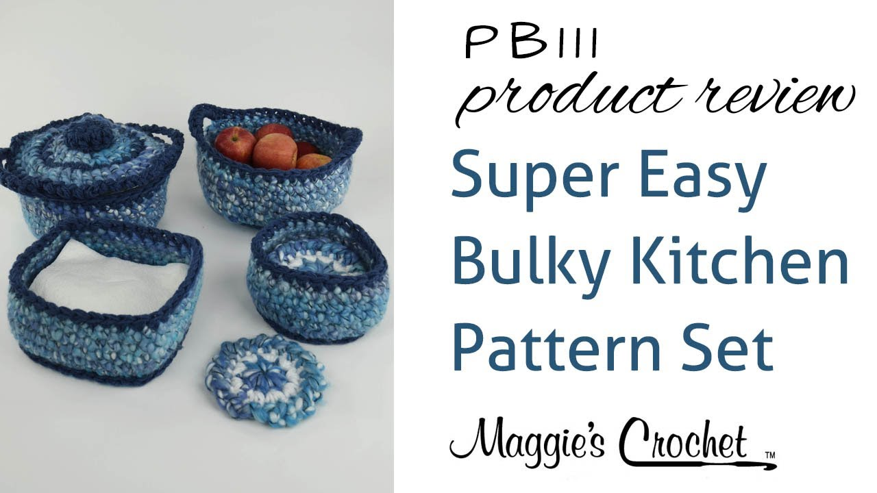 Super Easy Bulky Kitchen Set Crochet Pattern Product Review PB111 ...