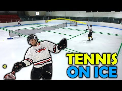 Playing Tennis On ICE With Full Hockey Gear | SweetSpotSquad
