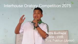Inter house Oratory Competition 2075 (First Position)