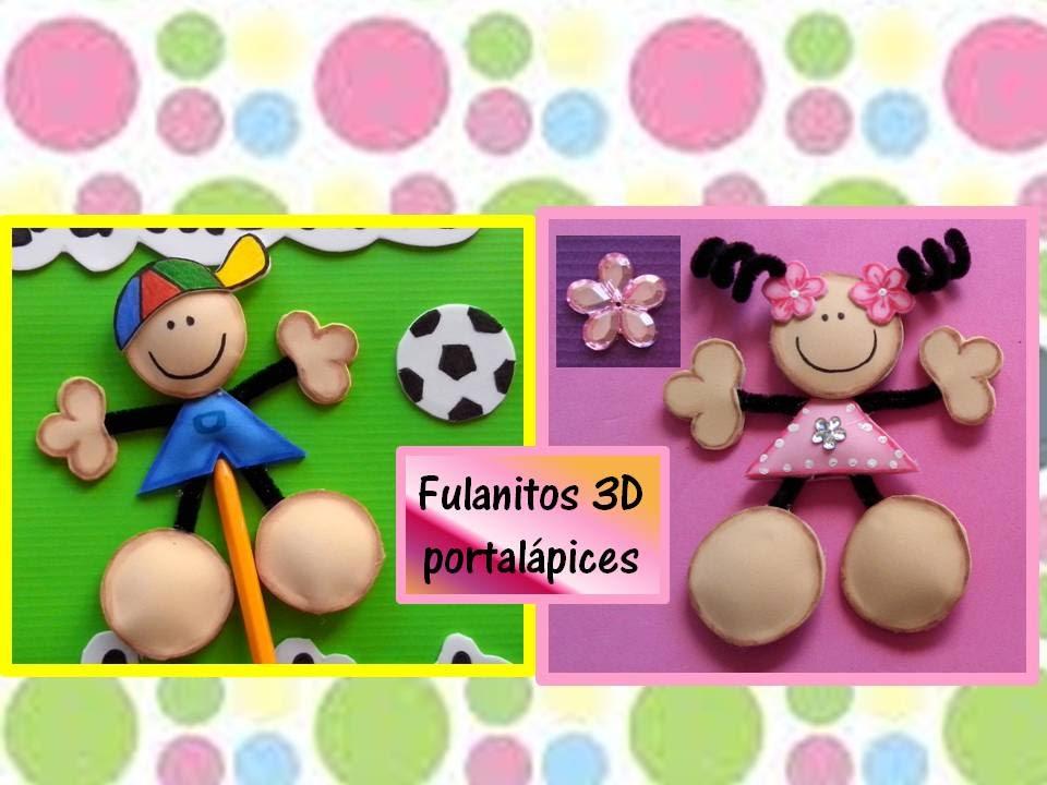 Fulanitos de foamy en 3d para decorar lapices - Plumas para decorar ...