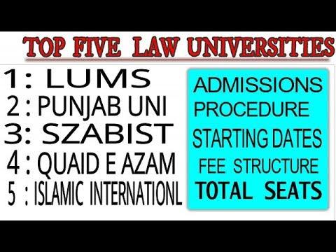 Top five Law Universities in Pakistan |lums / szabist / punjab university /Quaid e azam |