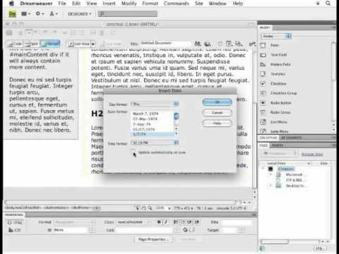 How To Insert A Date Stamp Into Dreamweaver
