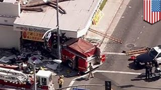 Fire truck crashes into Chinese restaurant in Monterey Park outside of Los Angles