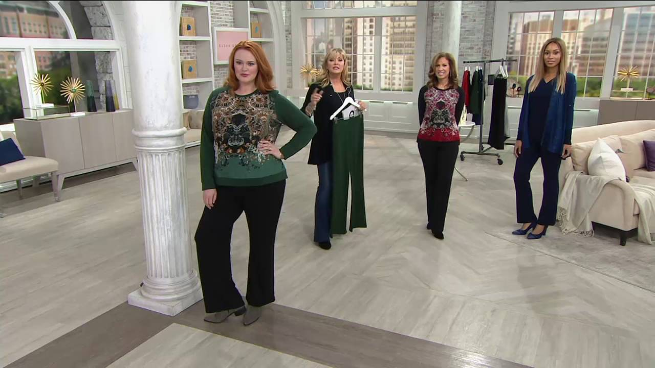 e3e407e25f37 Susan Graver Weekend Brushed Back Knit Mini Boot Cut Pants on QVC ...