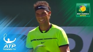 Nadal throws racket up to try & hit the ball | Indian Wells 2017 Day 5