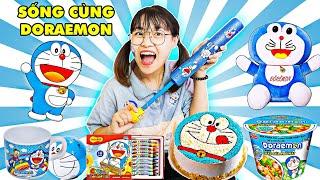Thử Thách Chỉ Ăn Đồ Ăn Doraemon Và Troll Anh Gấu Đỏ Của Hà Sam