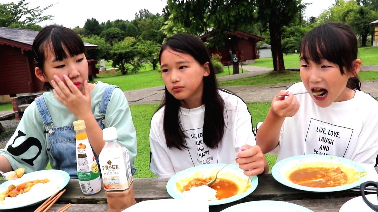 つがる地球村での2年ぶりのキャンプにテンションが上がる三姉妹