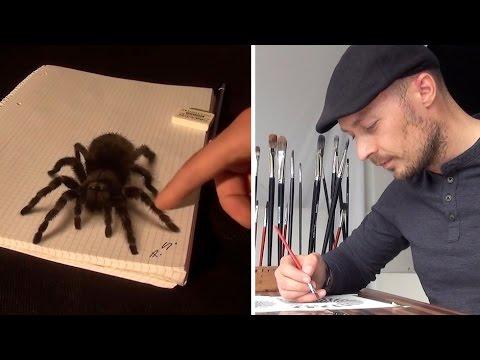 3D Malerei: Wenn die Vogelspinne dem Papier entspringt