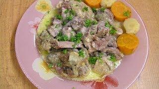 Гусь с грибами в сметанном соусе - видео рецепт