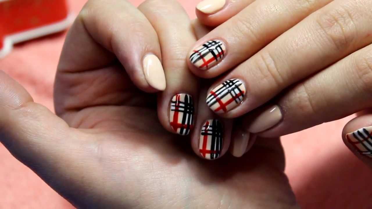"""Дизайн ногтей в стиле """"Барберри"""" гель-лаками. Нейл-арт"""