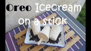 Oreo Ice cream on a stick | Ice cream Drop | no ice cream machine recipe | no ice cream maker