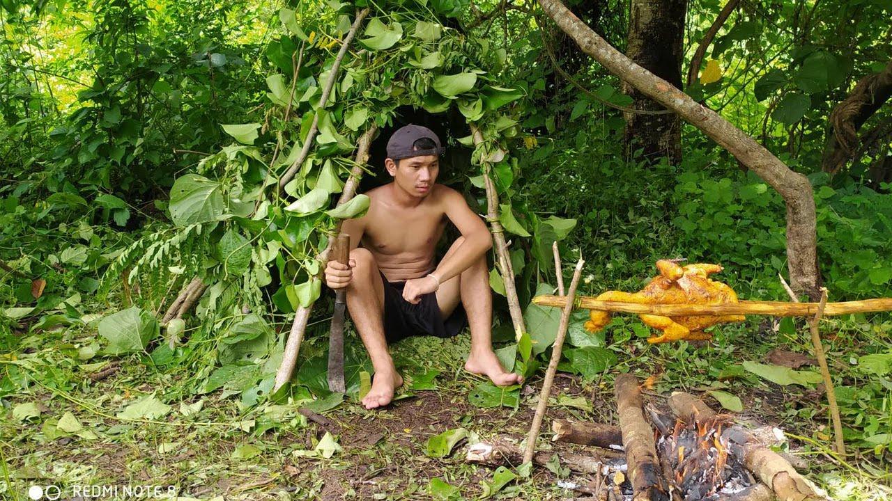 สร้างบ้านทำอารป่า 1 วันในป่าลึก ฝนตกอันตราย...