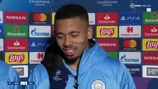 Gabriel Jesus reacts to his second Champions League hat-trick