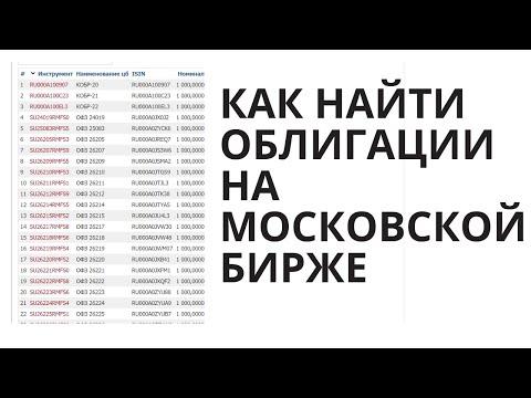 Облигации - поиск и анализ на сайте Московской Бирже
