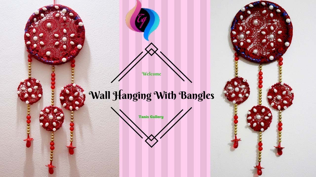 Wall hanging craft with bangles home decoration using Home decoration with bangles