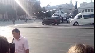 Владимир Путин в Воронеже ,посадка вертолета на Площадь Ленина