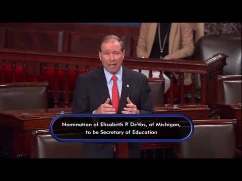 Tom Takes to the Senate Floor to Speak Out Against Betsy Devos' Nomination for Education Secretary