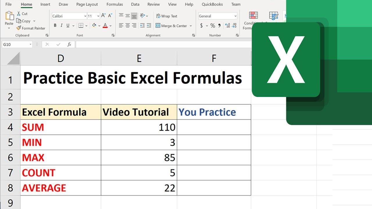 Learn Basic Excel Formulas under 20 Min