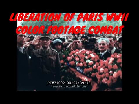 LIBERATION OF PARIS WWII COLOR FOOTAGE COMBAT MOVIES 71092